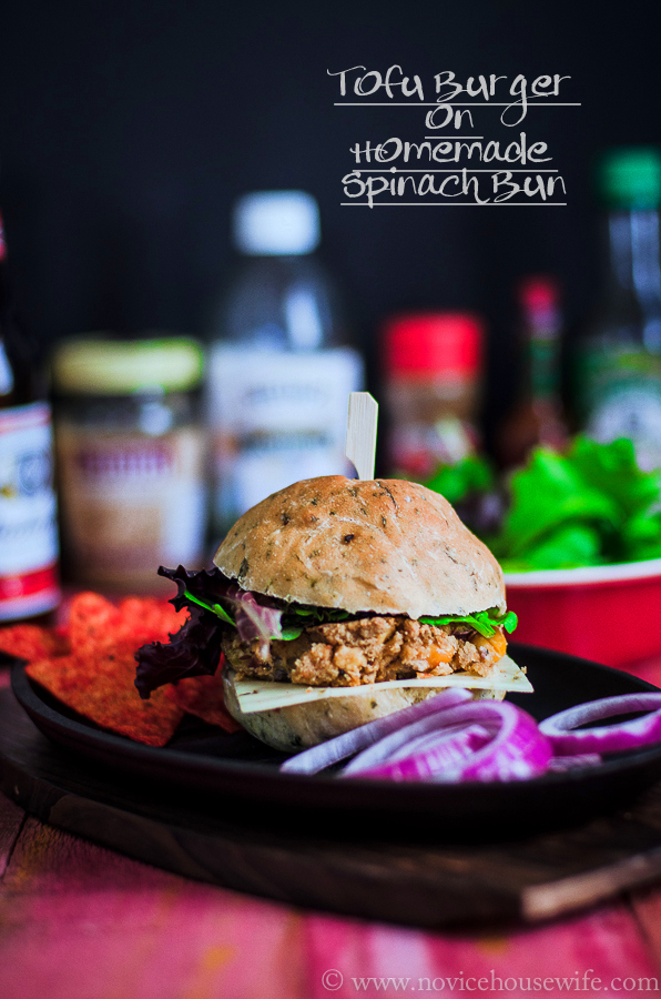 Tofu burger on homemade spinach buns the novice housewife